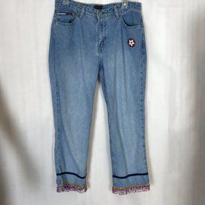 Tommy Jeans Denim Capris with Beaded Hems Size 11